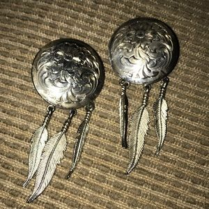 """Vintage Silver Feather Earrings 3""""x1"""" Engraving ❤️"""